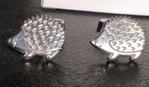 gemelos de erizo plata