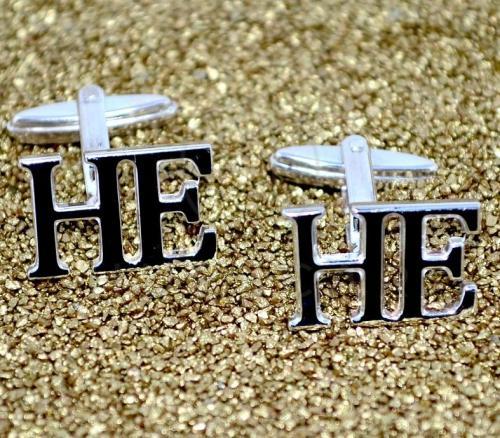 gemelos de iniciales de plata de ley