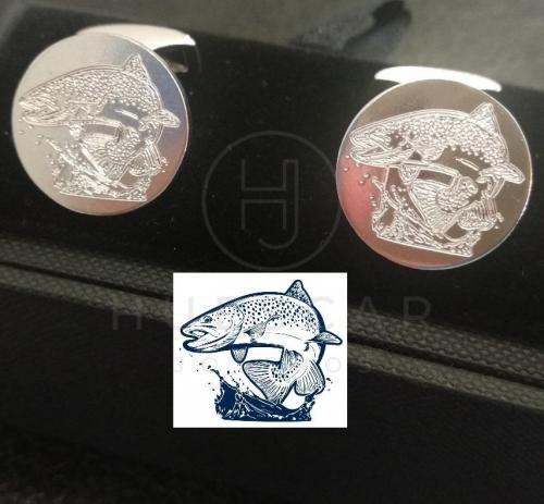 gemelos de pesca en plata