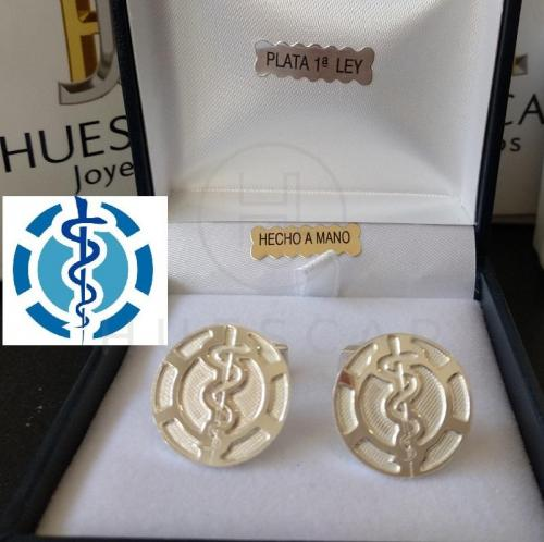 gemelos de plata escudo medicina