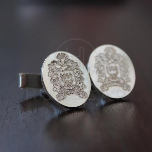 gemelos de plata hechos a mano escudo de armas