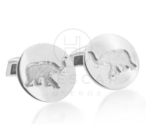 gemelos elefante bajo relieve PLATA