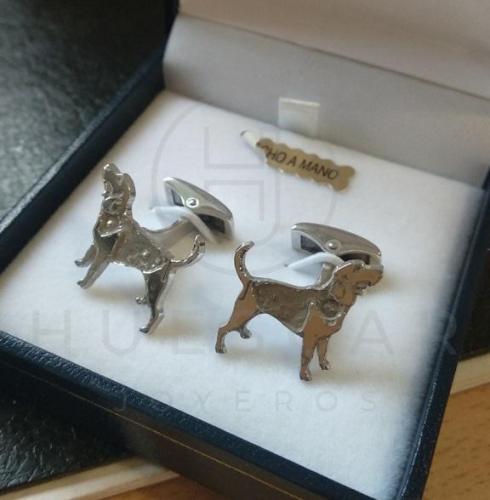 gemelos perros de plata